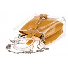 На фото 3 - Сумочка ring-bag из винила и эко-кожи, цвет манго