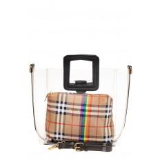 На фото 2 - Сумка шоппер из прозрачного винила с квадратными ручками, цвет черный