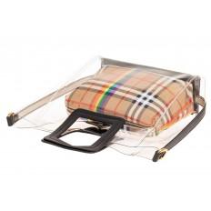 На фото 3 - Сумка шоппер из прозрачного винила с квадратными ручками, цвет черный