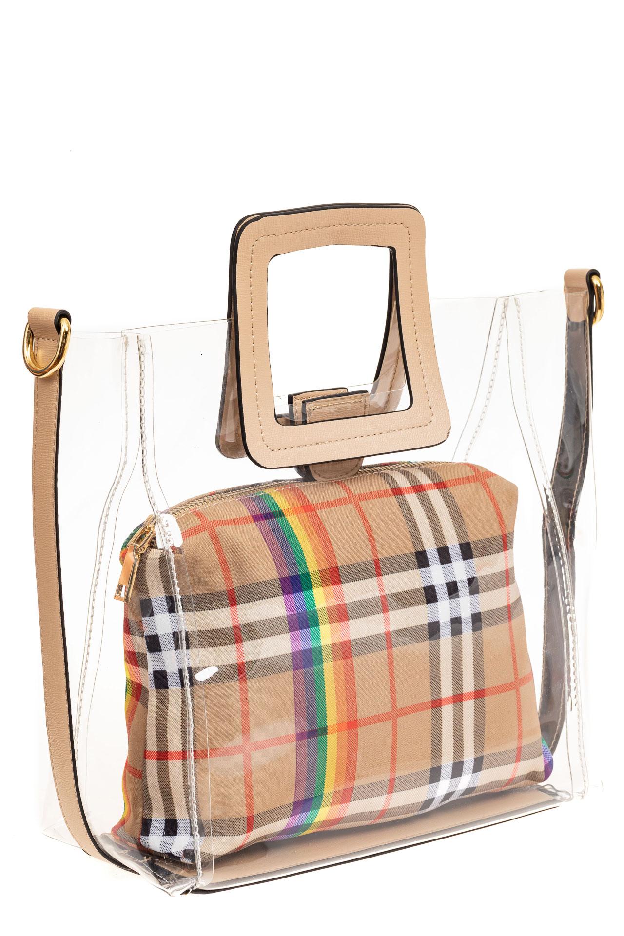 На фото 1 - Сумка шоппер из прозрачного винила с квадратными ручками, цвет бежевый