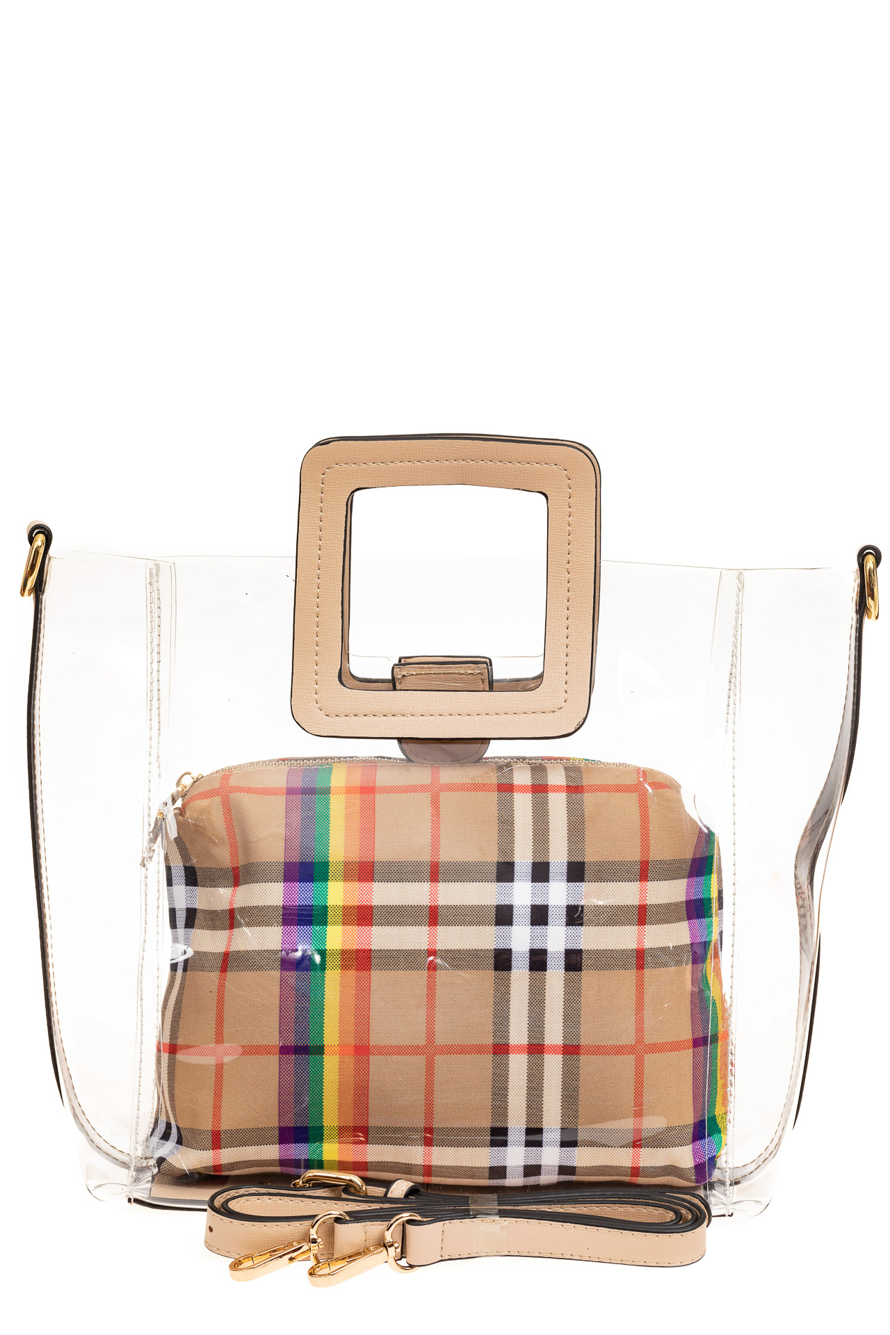 На фото 2 - Сумка шоппер из прозрачного винила с квадратными ручками, цвет бежевый