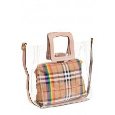 На фото 1 - Сумка шоппер из прозрачного винила с квадратными ручками, цвет розовый