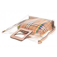 На фото 3 - Сумка шоппер из прозрачного винила с квадратными ручками, цвет розовый