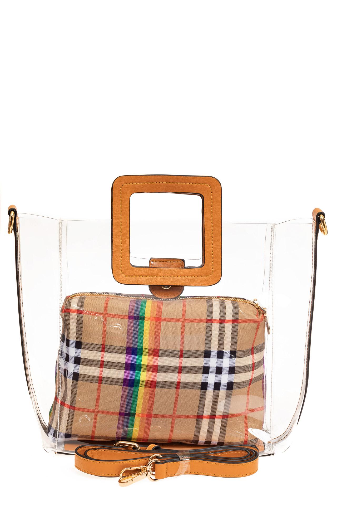 На фото 2 - Сумка шоппер из прозрачного винила с квадратными ручками, цвет рыжий