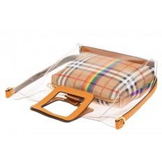На фото 3 - Сумка шоппер из прозрачного винила с квадратными ручками, цвет рыжий