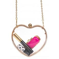 На фото 3 - Сумочка-коробочка в форме сердца, цвет золото