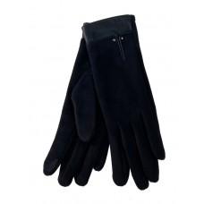 На фото 1 - Велюровые женские перчатки с манжетой из натуральной кожи, цвет чёрный