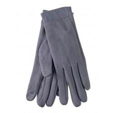 На фото 1 - Велюровые женские перчатки с манжетой из натуральной кожи, цвет серый