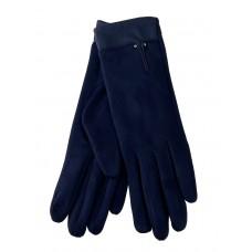 На фото 1 - Велюровые женские перчатки с манжетой из натуральной кожи, цвет тёмно-синий