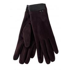 На фото 1 - Велюровые женские перчатки с манжетой из натуральной кожи, цвет шоколад