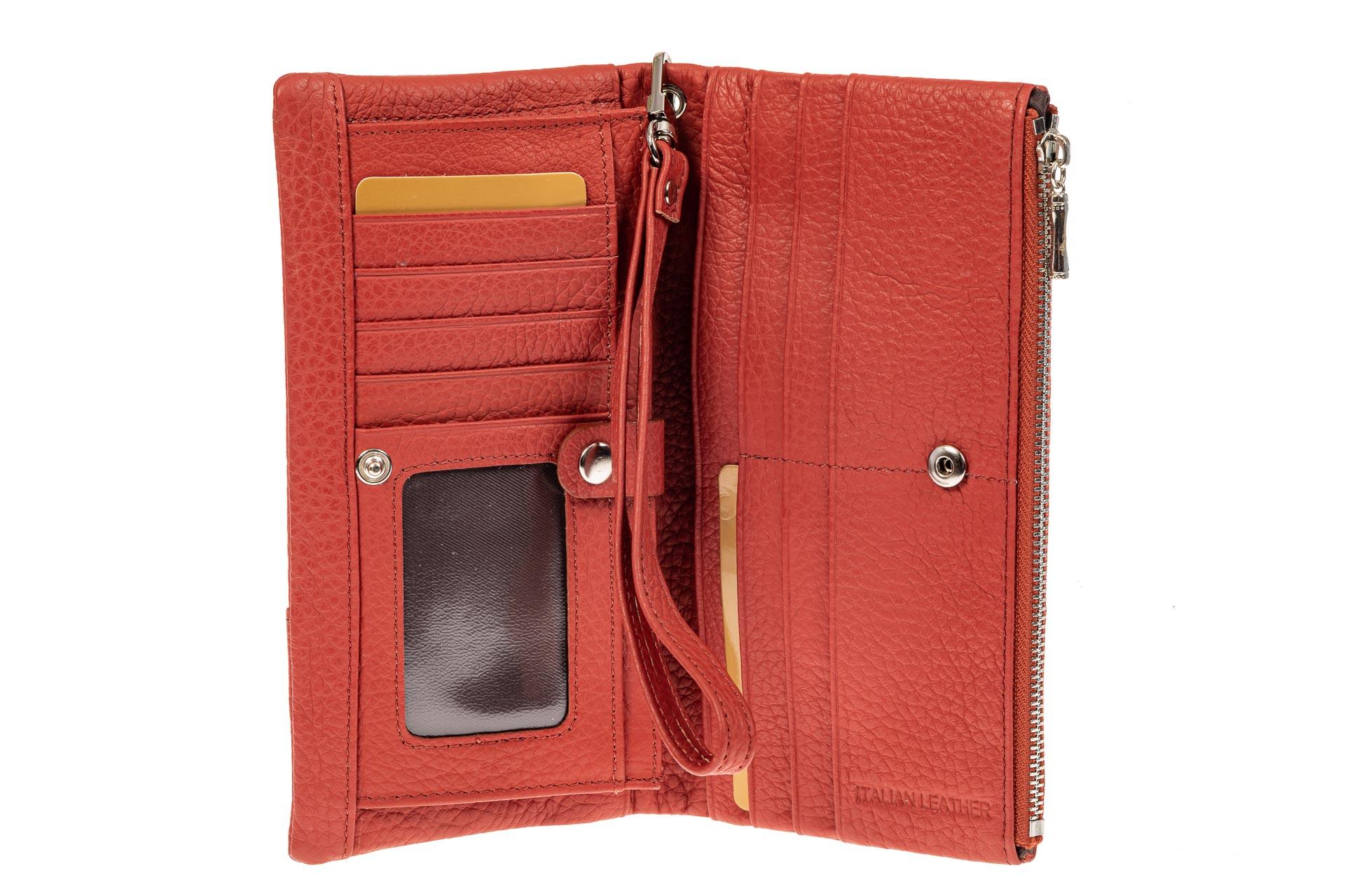 На фото 2 - Женский кошелек из натуральной итальянской кожи, цвет рыже-красный