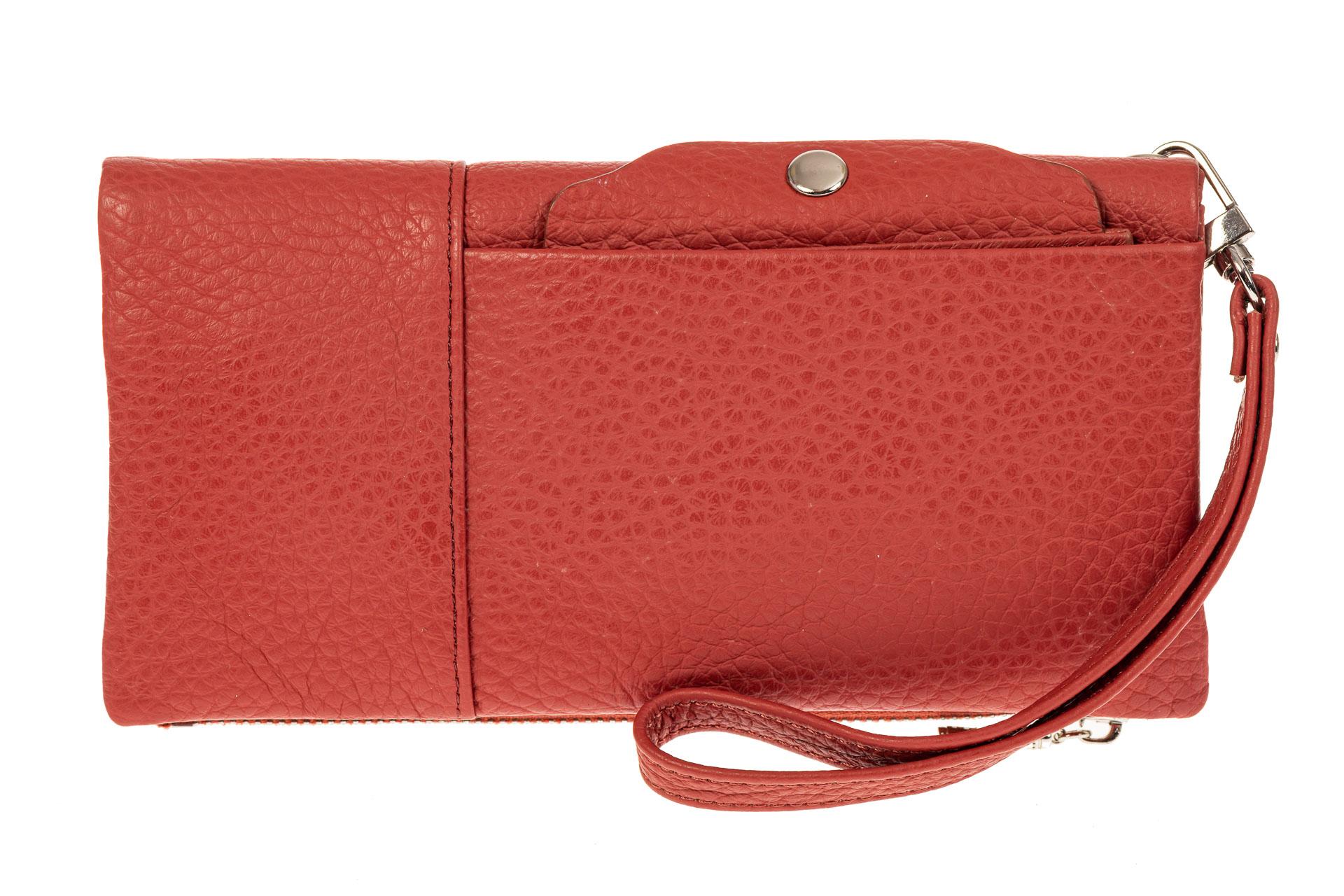 На фото 1 - Женский кошелек из натуральной итальянской кожи, цвет рыже-красный
