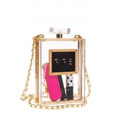 На фото 1 - Сумка-коробочка из пластика, цвет золото