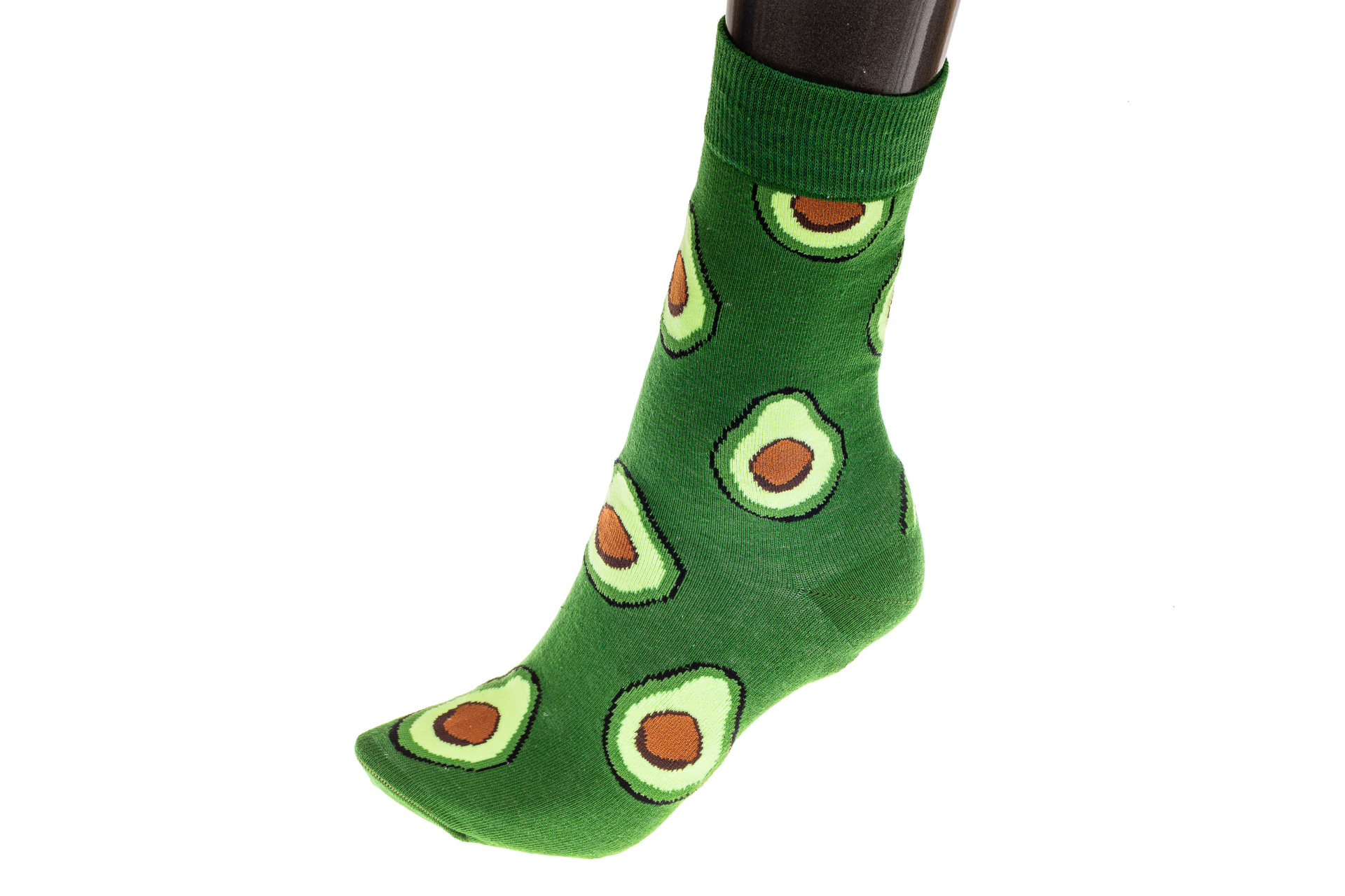 На фото 1 - Женские носки с принтом авокадо, основной цвет зеленый