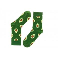 На фото 2 - Женские носки с принтом авокадо, основной цвет зеленый