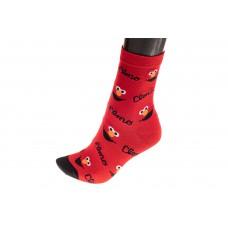 На фото 1 - Красные женские носки с изображением гримасы