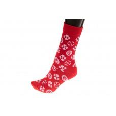 На фото 1 - Женские носки с иконками, основной цвет красный
