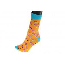 На фото 1 - Женские носки с принтом, цвет оранжевый с голубым