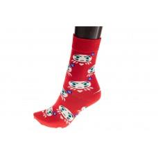 На фото 1 - Женские носки с принтом забавной рожицы, цвет красный