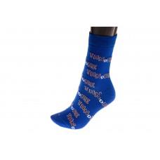 На фото 1 - Женские носки с принтом буквы, основной цвет синий