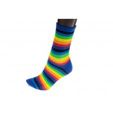 На фото 1 - Полосатые женские носки с принтом радуга, основной цвет синий