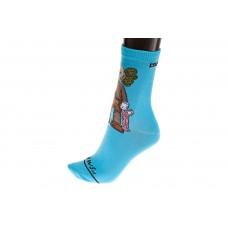 На фото 1 - Голубые женские носки с принтом трендового персонажа