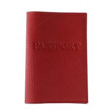 На фото 1 - Обложка на паспорт из натуральной кожи, цвет красный
