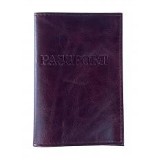 На фото 1 - Обложка на паспорт из натуральной кожи, цвет бордовый
