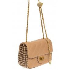 На фото 1 - Маленькая сумка кросс-боди из искусственной кожи и текстиля, бежевый