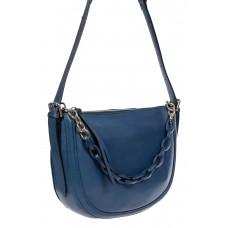 На фото 1 - Кожаная женская сумка-седло с ручкой-цепочкой, цвет синий