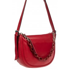 На фото 1 - Кожаная женская сумка-седло с ручкой-цепочкой, цвет красный