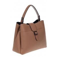 На фото 1 - Кожаная женская сумка-трапеция, цвет бежевый