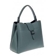 На фото 1 - Кожаная женская сумка-трапеция, цвет бирюзовый
