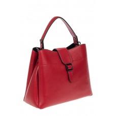 На фото 1 - Кожаная женская сумка-трапеция, цвет красный