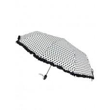 На фото 1 - Женский зонт-полуавтомат в горошек, цвет белый с чёрным