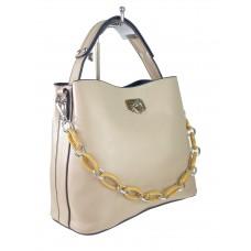 На фото 1 - Женская сумка через плечо из искусственной кожи с ручкой-цепочкой, цвет бежевый