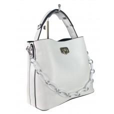 На фото 1 - Женская сумка через плечо из искусственной кожи с ручкой-цепочкой, цвет белый
