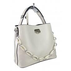 На фото 1 - Женская сумка через плечо из искусственной кожи с ручкой-цепочкой, цвет молочный