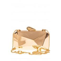На фото 2 - Оригинальная вечерняя сумочка,  цвет золото