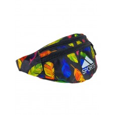 На фото 1 - Поясная спортивная сумка из текстиля с ярким принтом, цвет чёрный