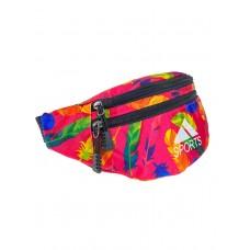 На фото 1 - Поясная спортивная сумка из текстиля с ярким принтом, цвет фуксия