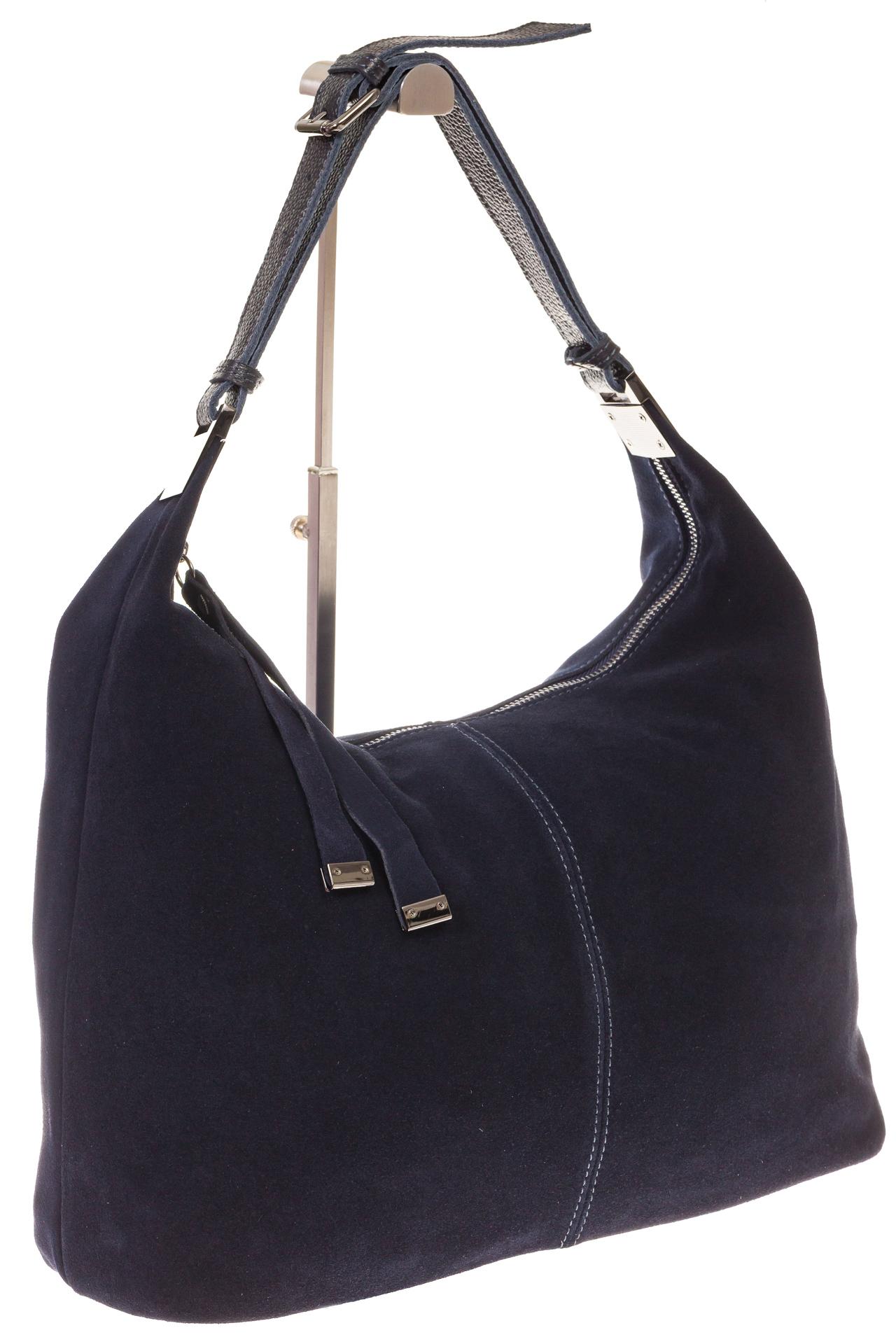 На фото 1 - Женская сумка Хобо из замши синего цвета