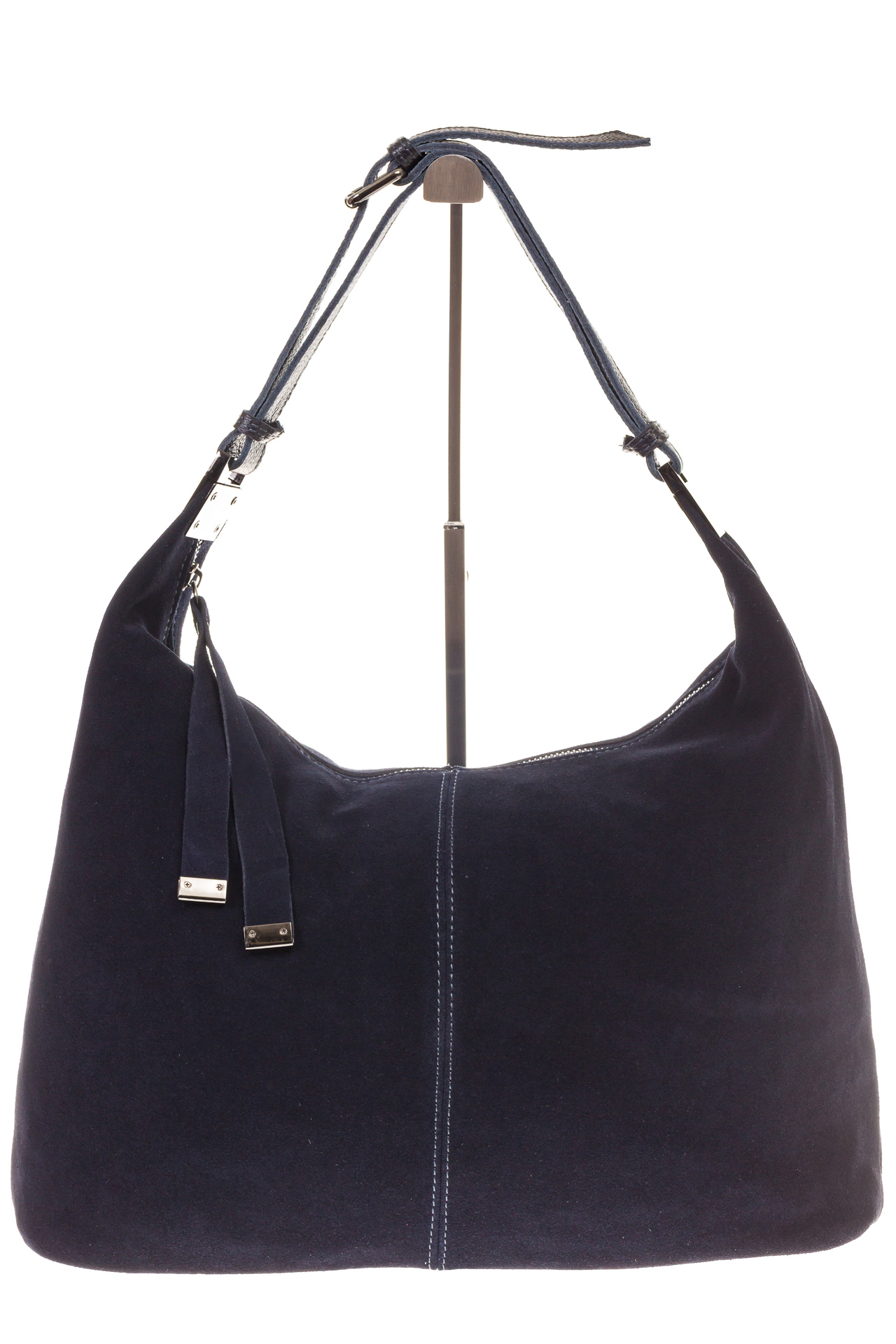 На фото 2 - Женская сумка Хобо из замши синего цвета