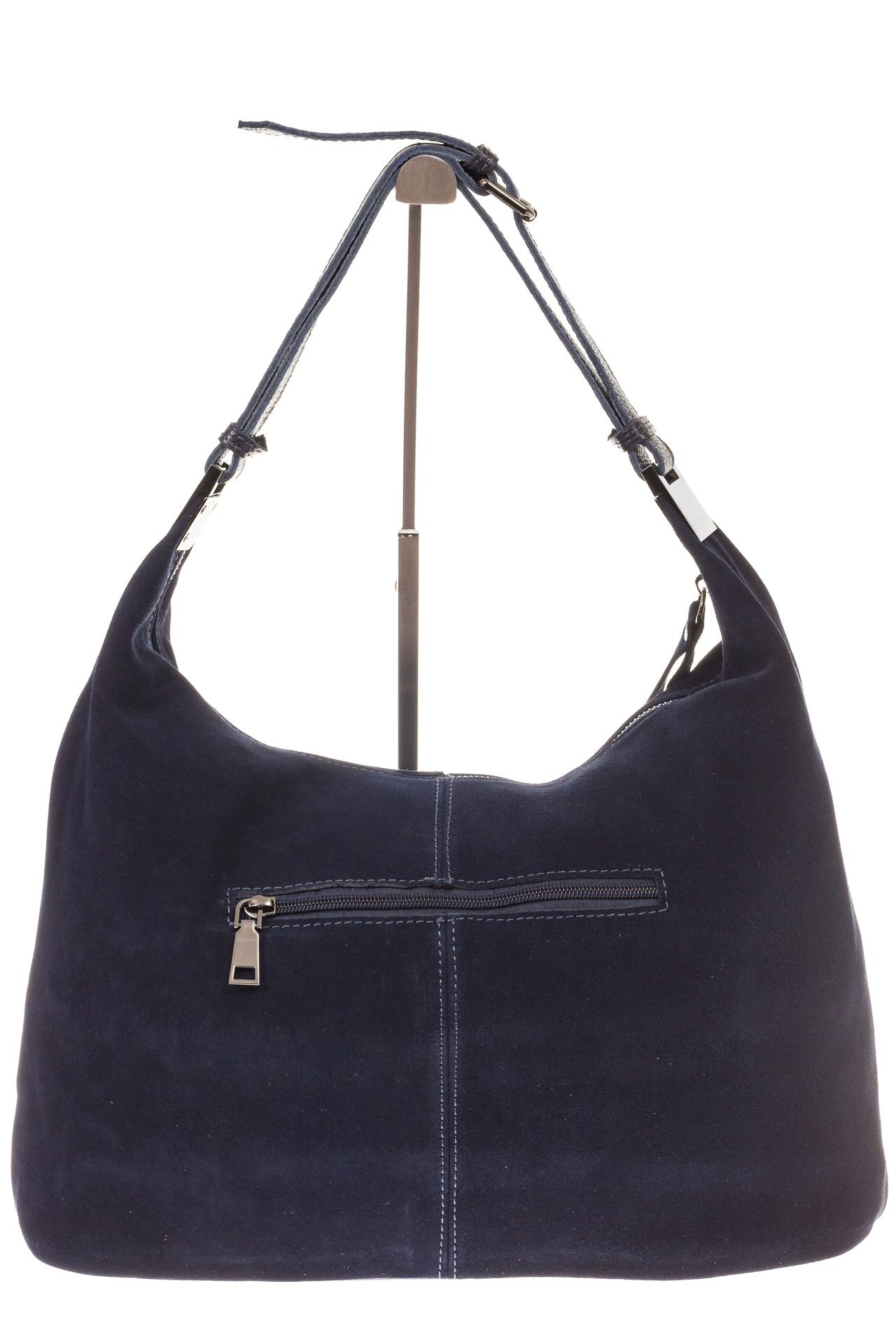 На фото 3 - Женская сумка Хобо из замши синего цвета