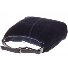 На фото 4 - Женская сумка Хобо из замши синего цвета