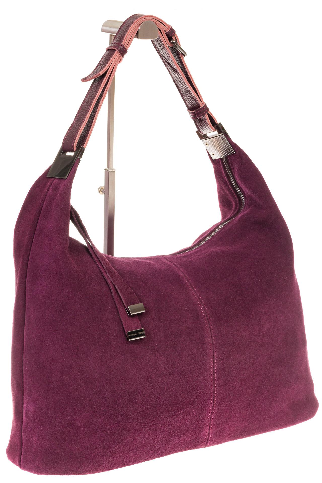 На фото 1 - Женская сумка Хобо из замши бордового цвета
