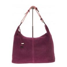 На фото 2 - Женская сумка Хобо из замши бордового цвета