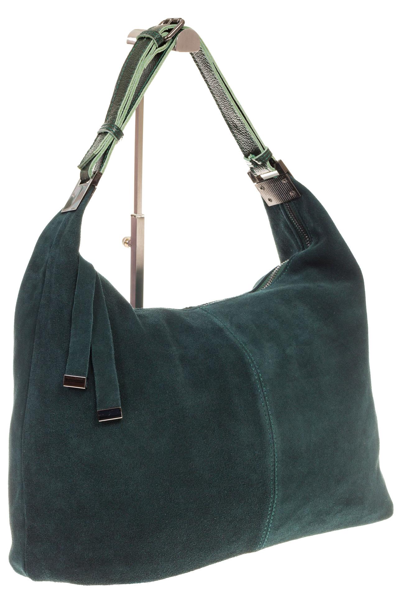 На фото 1 - Женская сумка Хобо из замши изумрудного цвета
