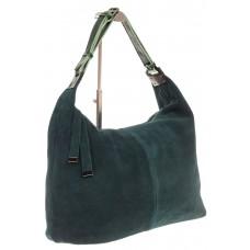 На фото 1 - Женская сумка Хобо из замши изумрудного цве...