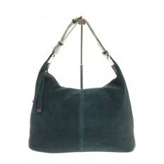 На фото 2 - Женская сумка Хобо из замши изумрудного цвета